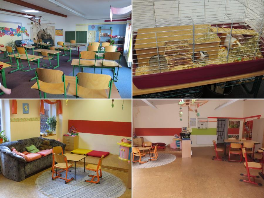 Klassenraum + Meerschweinchen + Hort