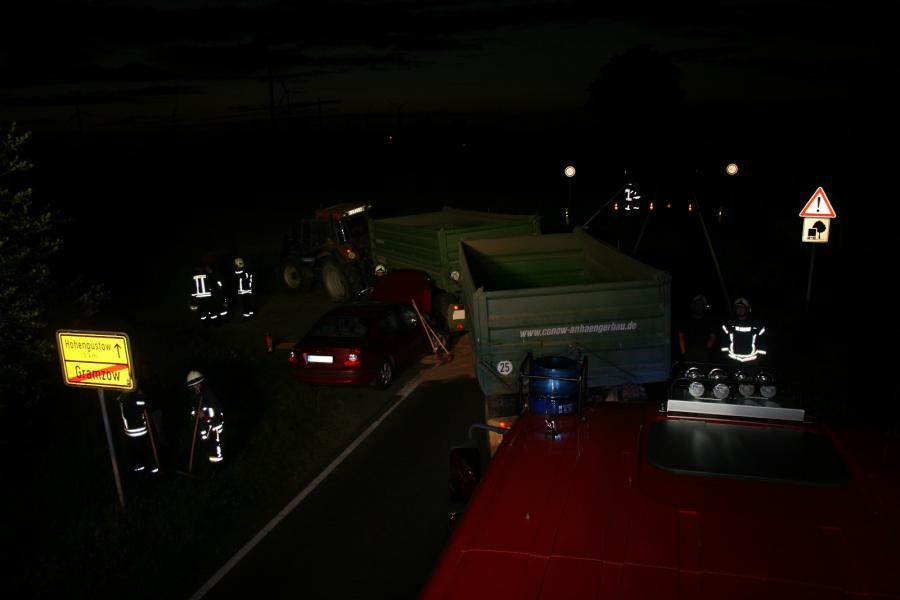 Gramzow, Verkehrsunfall PKW vs. Traktor