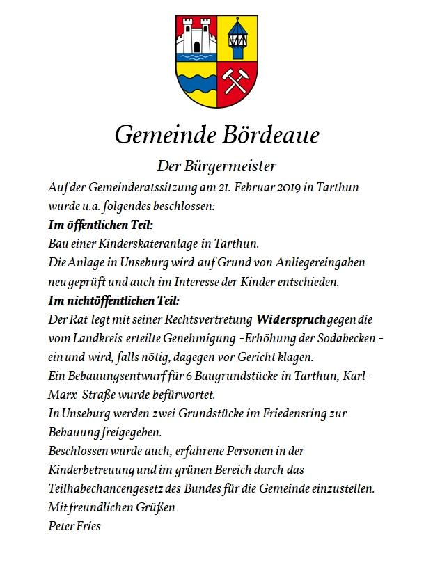 Info an Bürger vom 02.03.2019