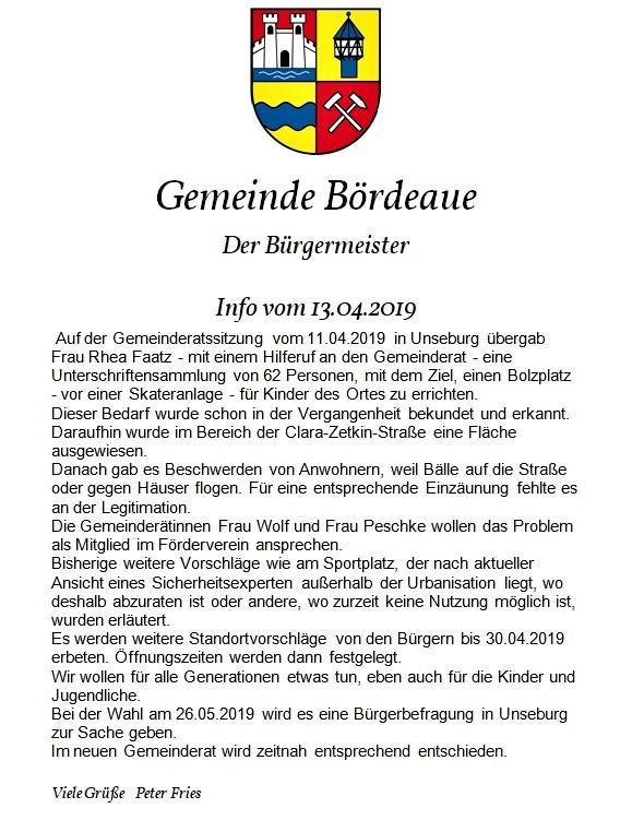 Info an die Bürger 13.04.2019