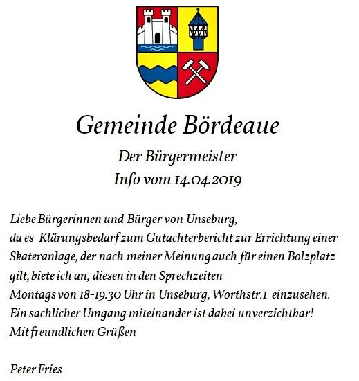 Info an die Unseburger Bürger vom 14.04.2019