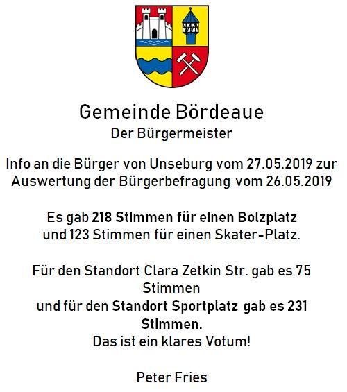Info an die Bürger vom 27.05.2019