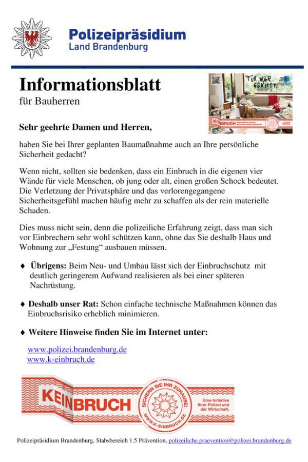 Einbruchschutz Infoblatt