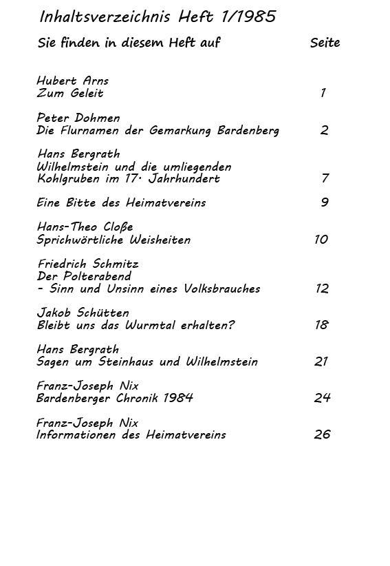Inhaltsverzeichnis 1/1985