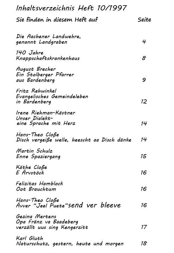 Inhaltsverzeichnis Heft 10/1997