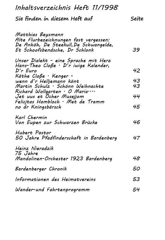 Inhaltsverzeichnis 11/1998-2