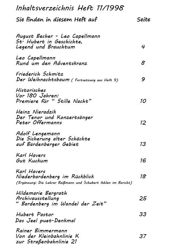 Inhaltsverzeichnis 11/1998