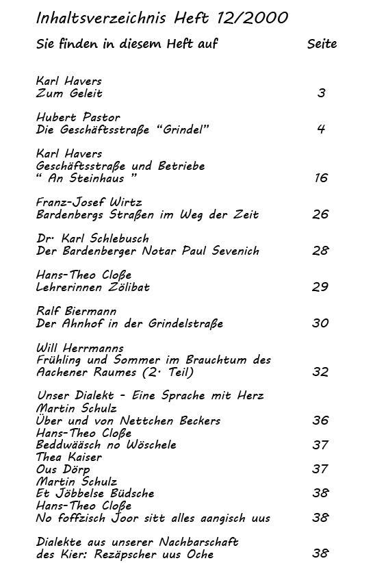 Inhaltsverzeichnis 12/2000