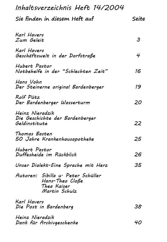 Inhaltsverzeichnis 14/2004