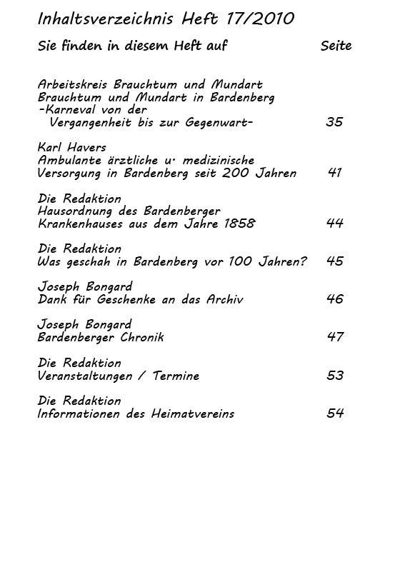 Inhaltsverzeichnis Heft 17/2010-2