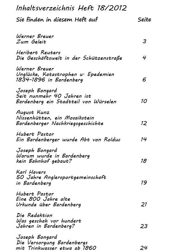 Inhaltsverzeichnis Heft 18/2012