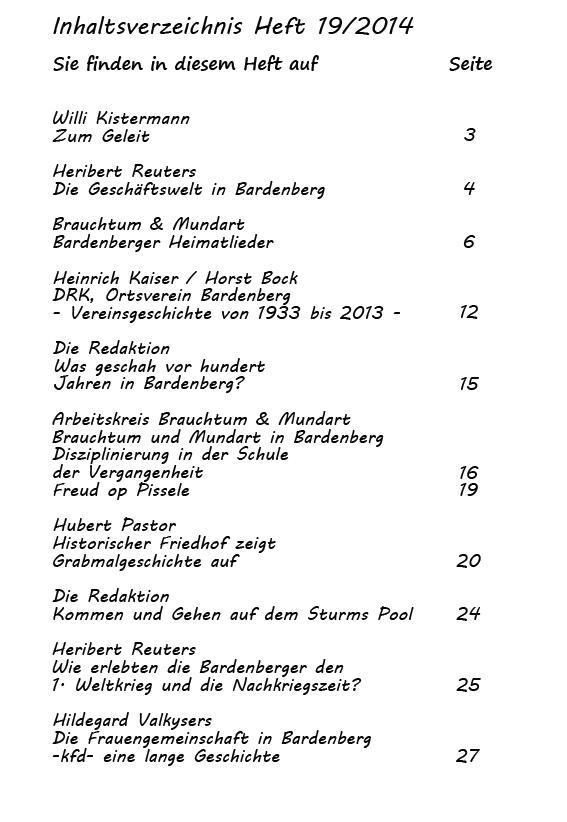 Inhaltsverzeichnis Heft 19/2014