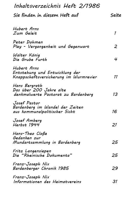 Inhaltsverzechnis 2-1986