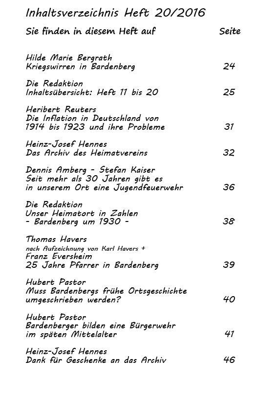 Inhaltsverzeichnis Heft 20/2016-2