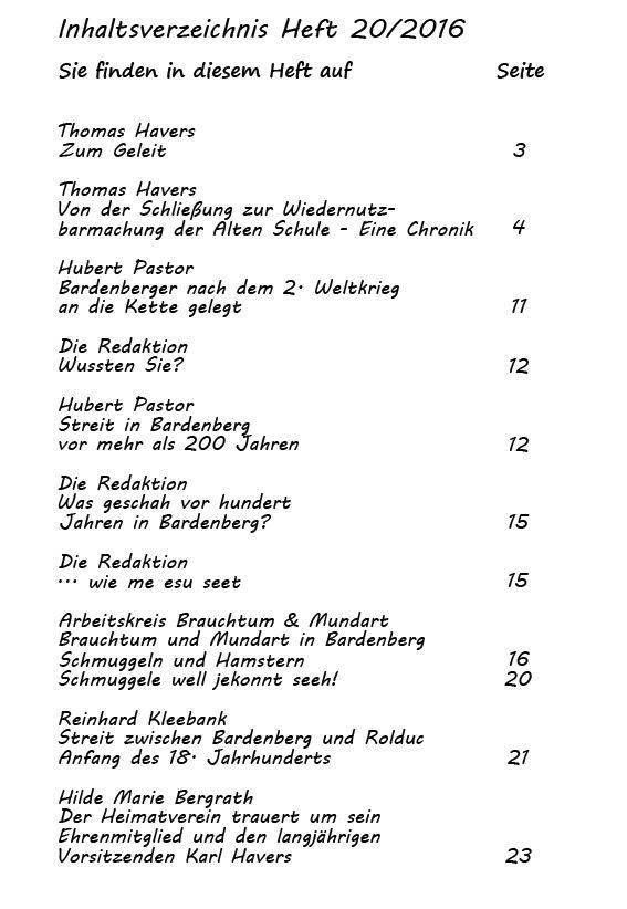 Inhaltsverzeichnis Heft 20/2016