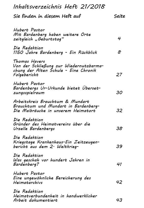 Inhaltsverzeichnis Heft 21/2018