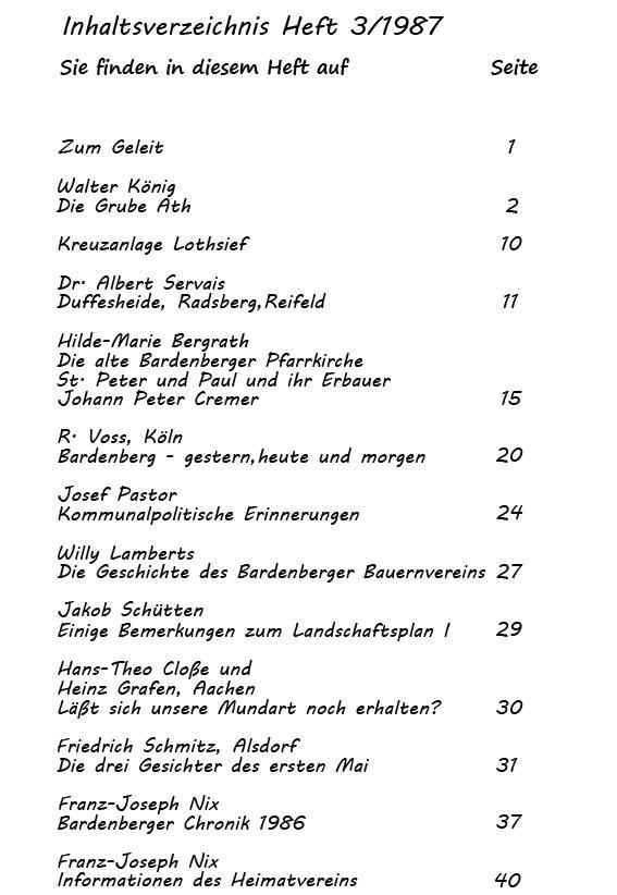 Inhaltsverzeichnis 3-1987