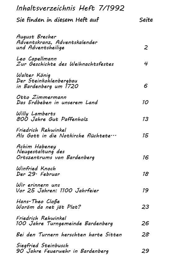 Inhaltsverzeichnis Heft 7/1992