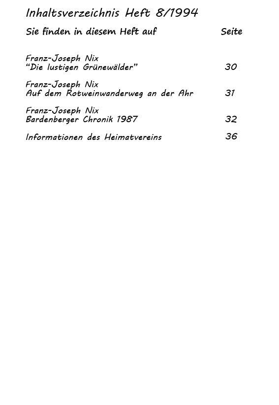 Inhaltsverzeichnis Heft 8/1994-2