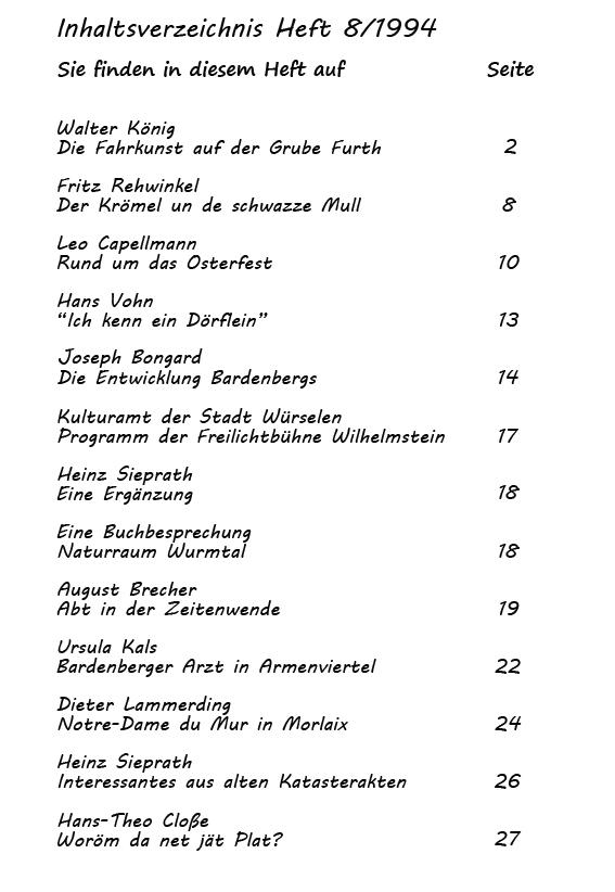 Inhaltsverzeichnis Heft 8/1994