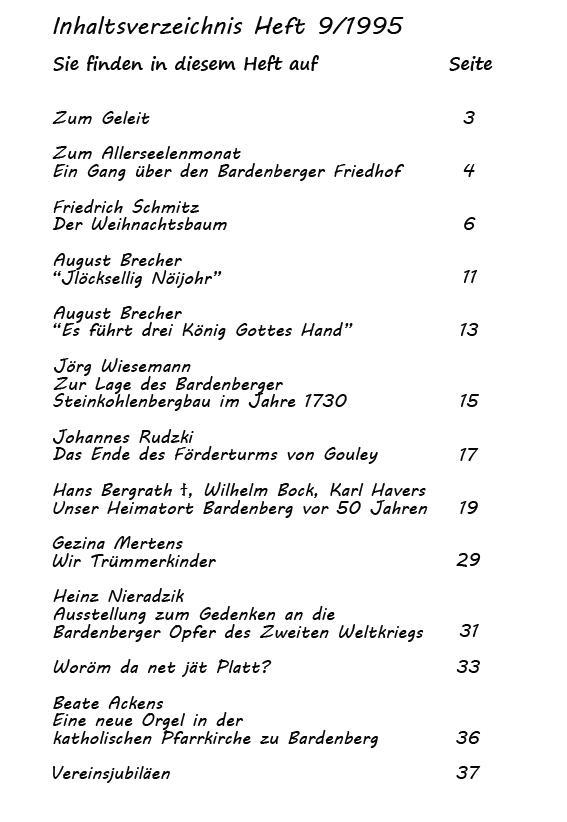 Inhaltsverzeichnis Heft 9/1995