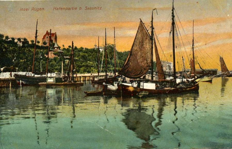 Insel Rügen Hafenpartie b. Sassnitz 1909