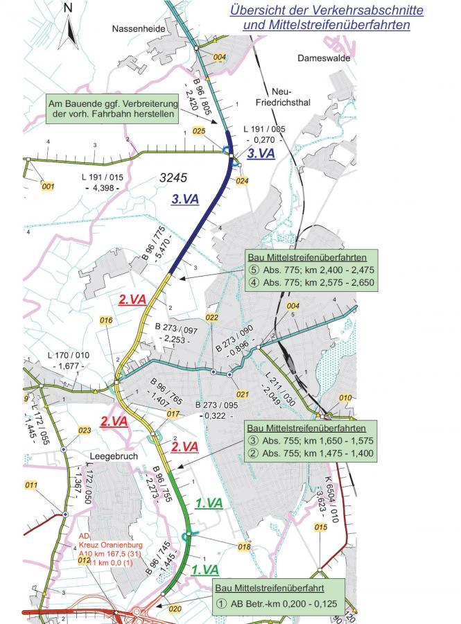 Die Ortsumgehung Oranienburg (B 96) wird in drei Verkehrabschnitten instandgesetzt. (Grafik: Landesbetrieb Straßenwesen)