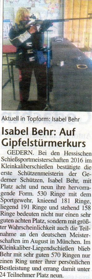 Isabel Behr Hess.Schießsportmeisterschaften 2016