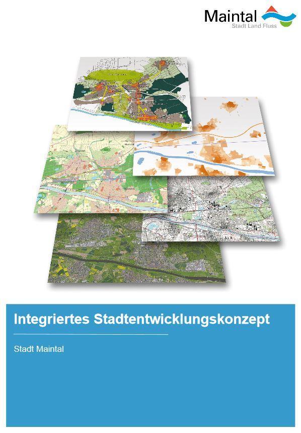 Externer Link zur PDF-Datei Integriertes Stadtentwicklungskonzept; Bild zeigt die erste Seite des ISEK, darauf sind fünf Karten abgebildet; Bild: Ammon und Sturm