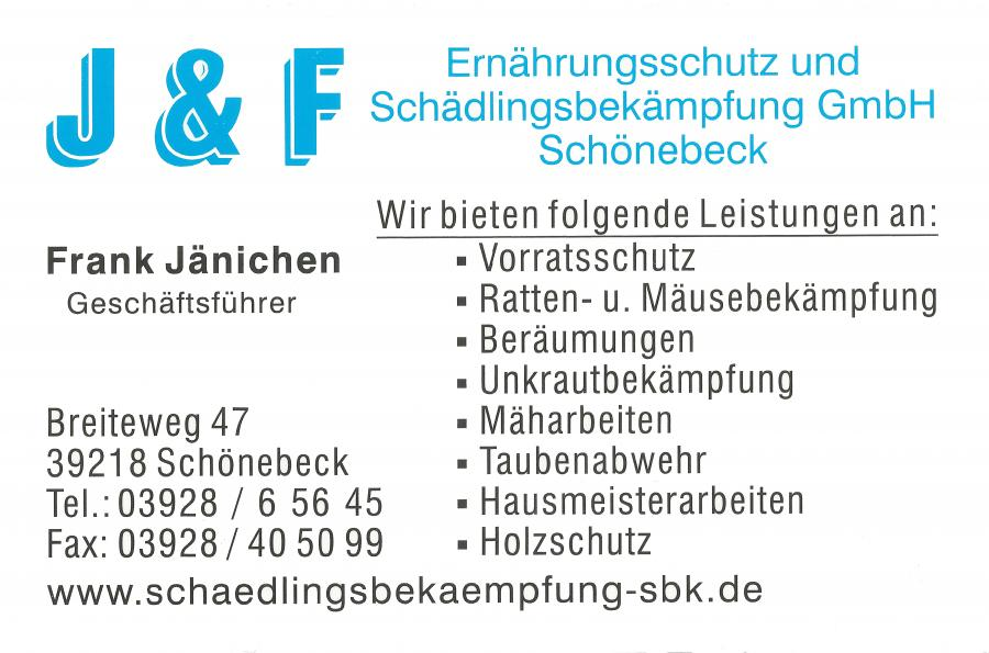 Schädlingsbekämpfungs GmbH Schönebeck, Sponsor TSV Eggersdorf