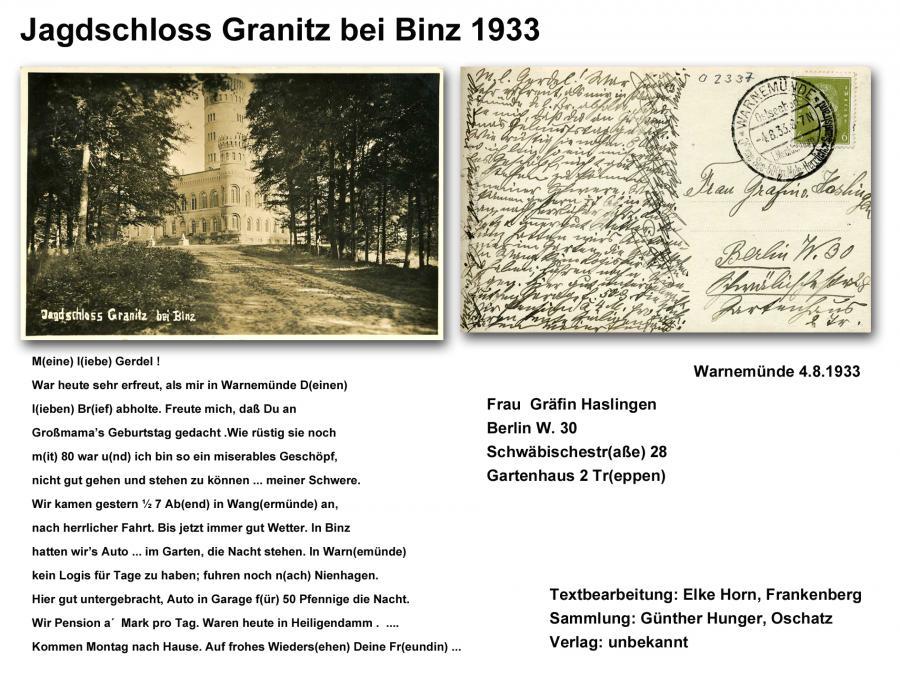 Jagdschloss Granitz 1933