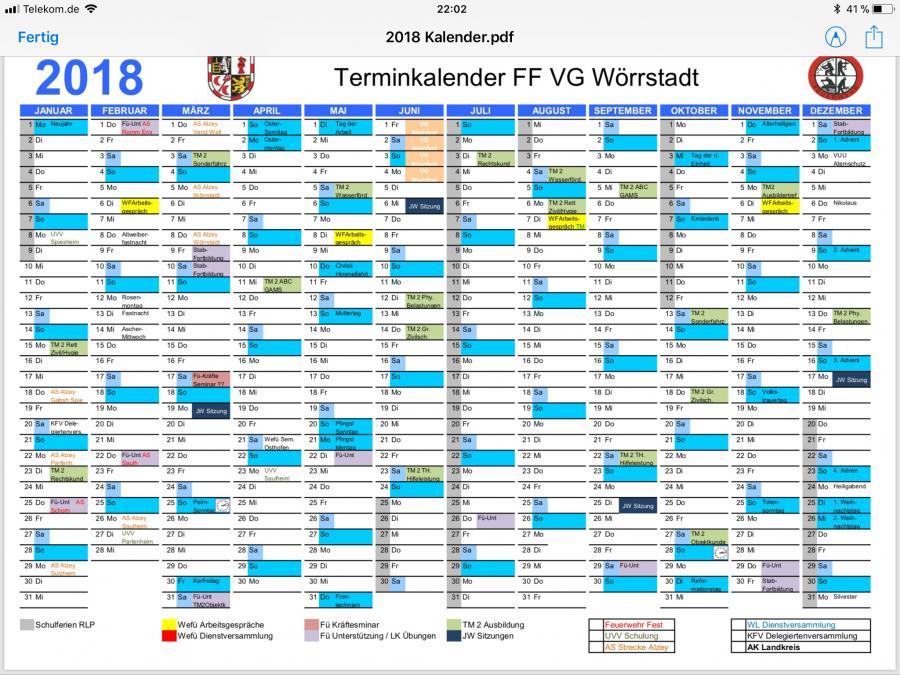 Jahresdienstplan 2018 VG Wörrstadt