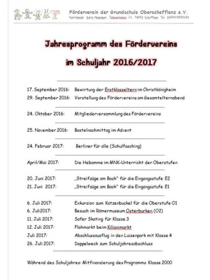 Jahresprogramm FöVerein 16 17