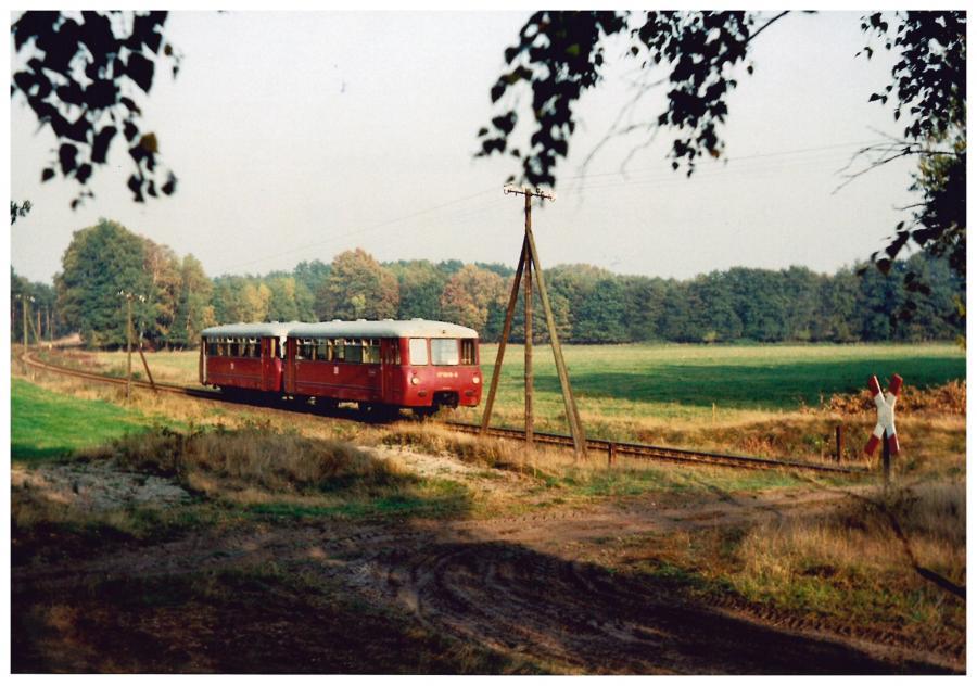 Schienenbus in einer der wenigen Kurven der Strecke, bei Harpe - Foto von Jörn Maaß