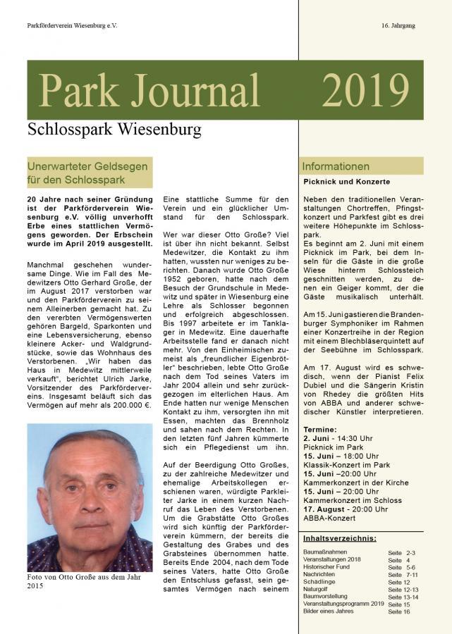Titelseite Parkjournal 2019