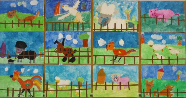 Haustiere - gemalt von den Kindern der Klasse 1a