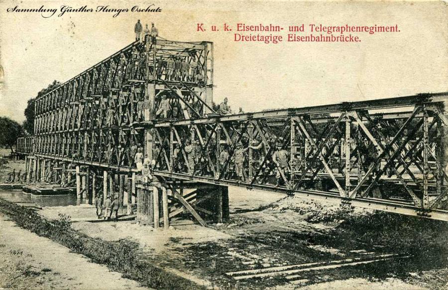 K. u. k. Eisenbahn- und Telegraphenregiment Dreietagige Eisenbahnbrücke