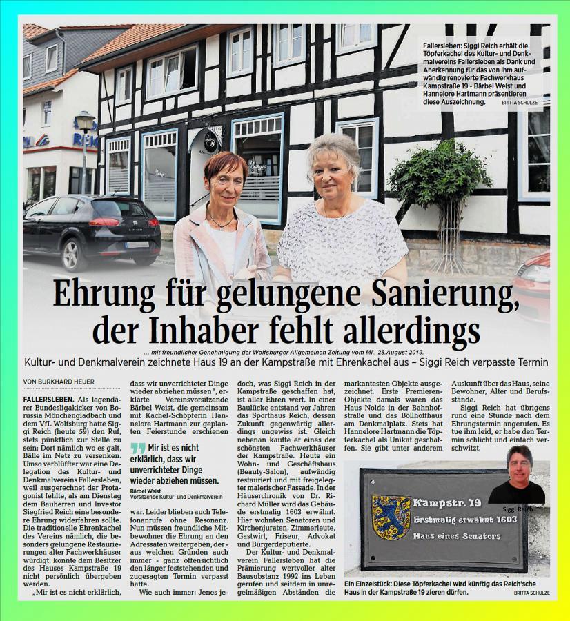 Kachelübergabe für das Reich-Haus Kampstraße 2019