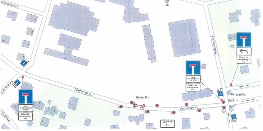 Karte zur Mitteilung des Bürgermeisters der Gemeinde Rangsdorf – Sperrung eines Abschnitts des Fontanewegs