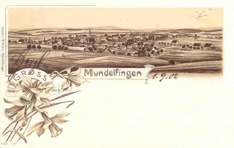 Ansichtskarte Mundelfingen von 1902
