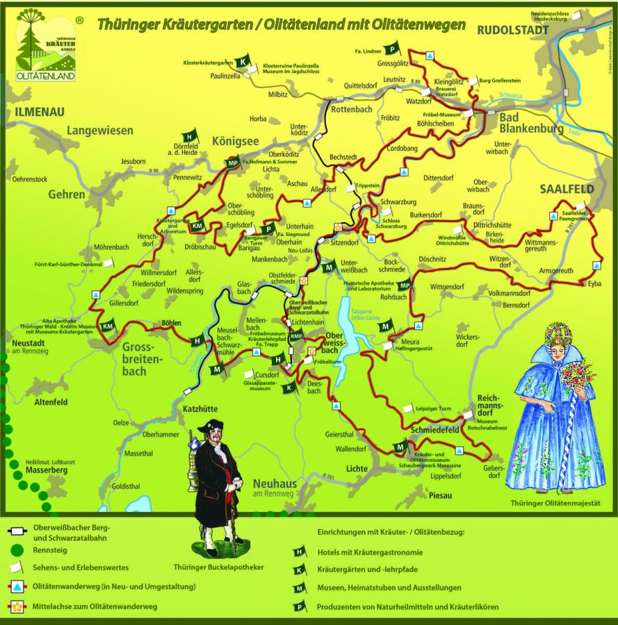 Karte Thüringer Kräutergarten / Olitätenland neu