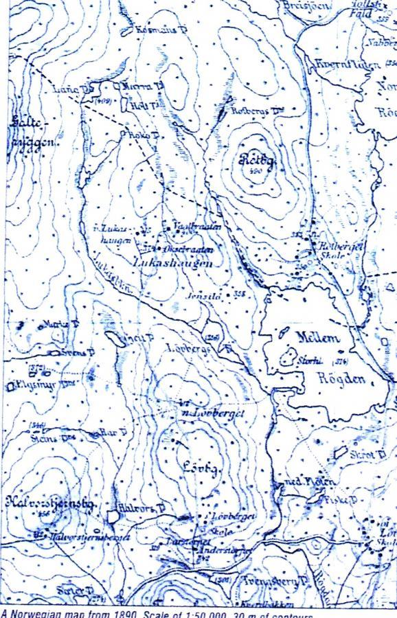 Karte 1890 Norwegen