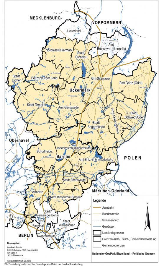 Gebiet des Nationalen Geoparks Eiszeitland am Oderrand