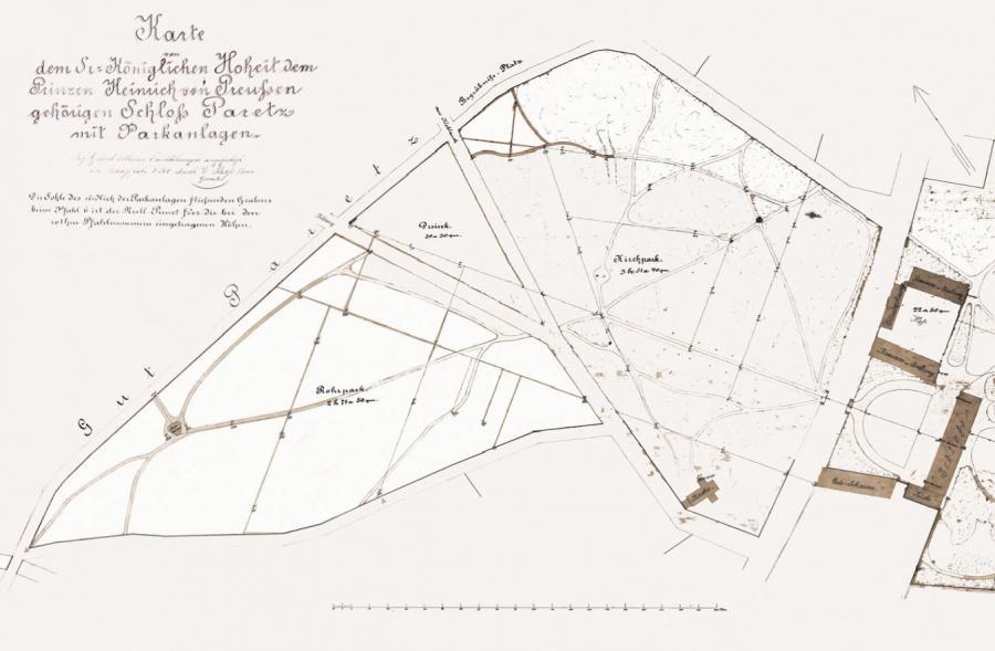 Karte der Parkanlagen von ca. 1895