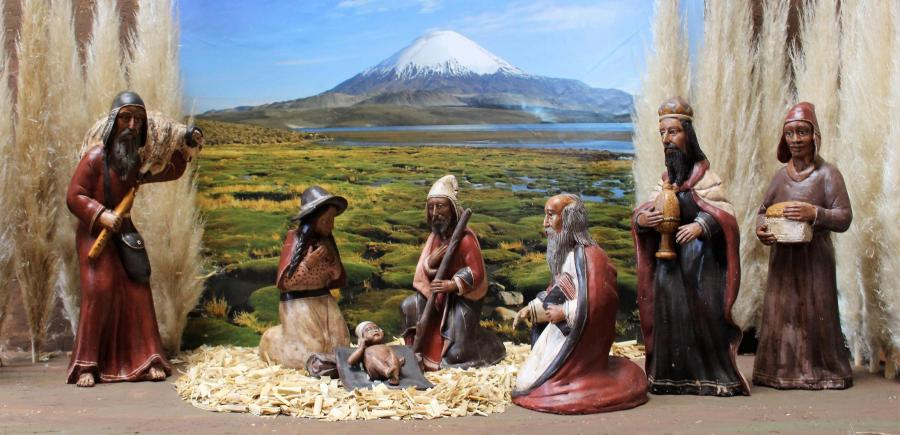 Keramik-Krippe aus Peru