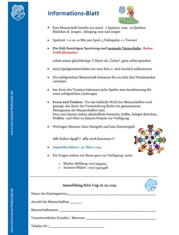 Kindergarten-cup 2019 Info/ Anmeldung