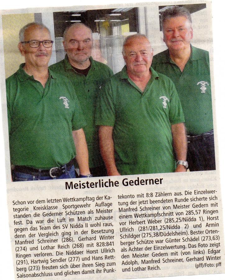 Kreismeister 2017 KK-Sportgewehr aufgelegt