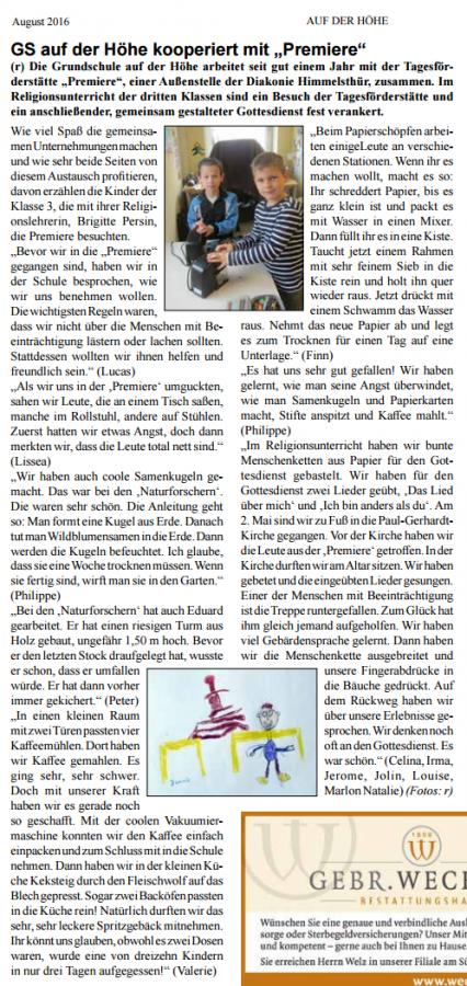 """Kooperation mit der Tagesförderstätte """"Premiere"""" - Stadtteilzeitung """"Auf der Höhe"""" - August 2016"""