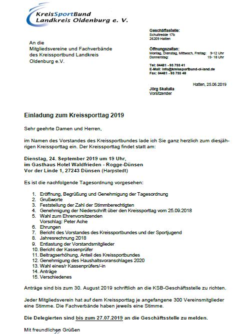 Kreissporttag 2019 Einladung