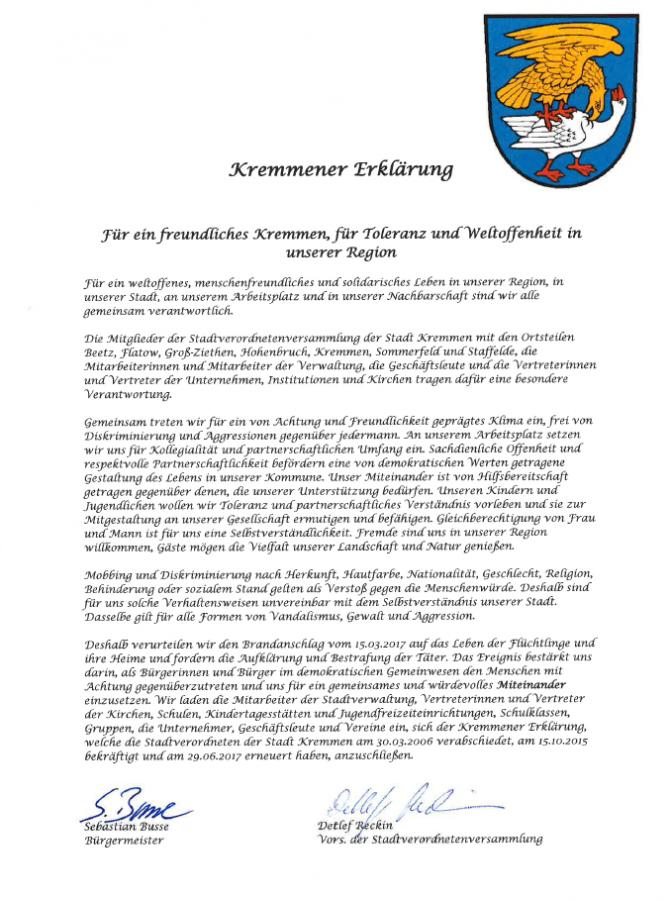 Kremmener Erklärung